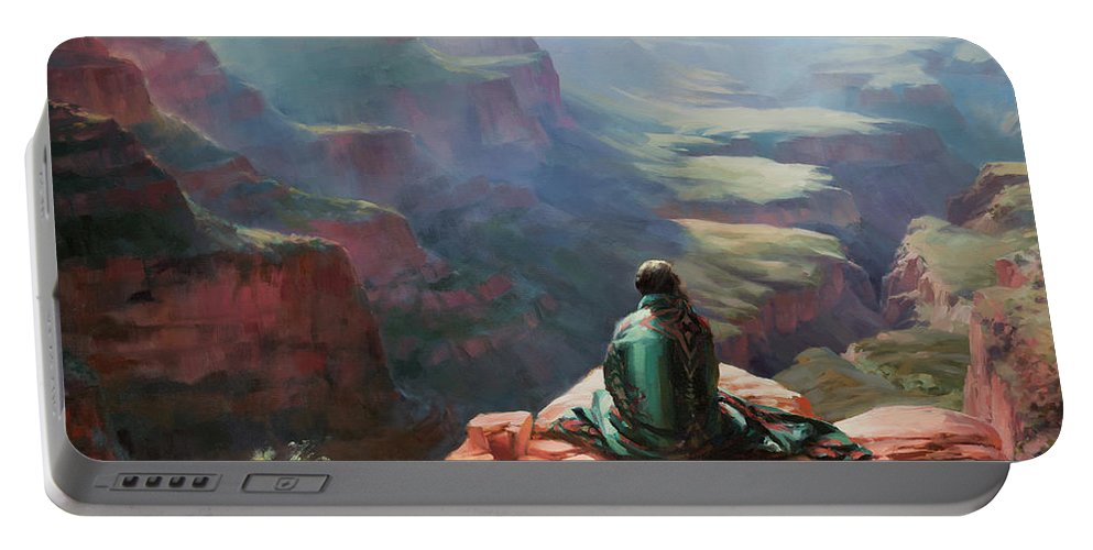Southwest Portable Battery Charger featuring the painting Serenity by Steve Henderson