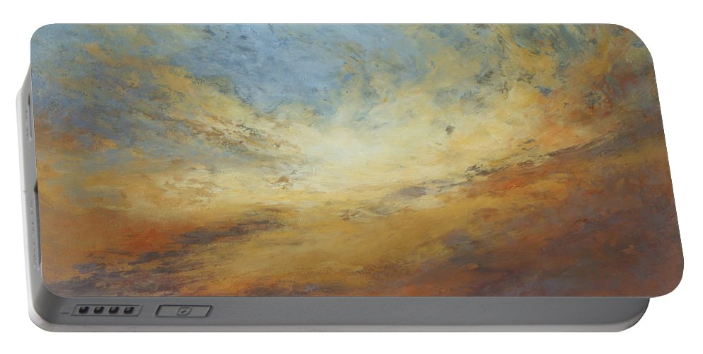 Sky Portable Battery Charger featuring the painting Serenity by Valerie Travers