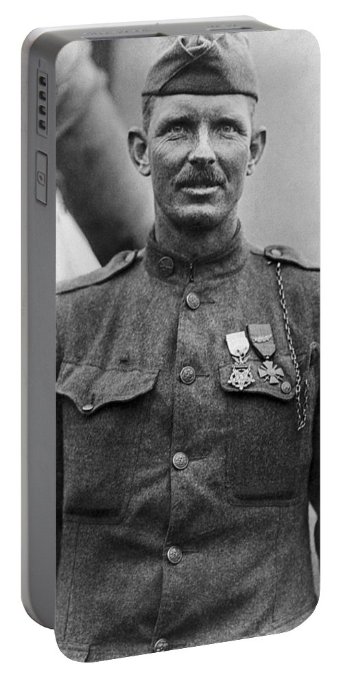 Alvin York Portable Battery Charger featuring the photograph Sergeant York - World War I Portrait by War Is Hell Store