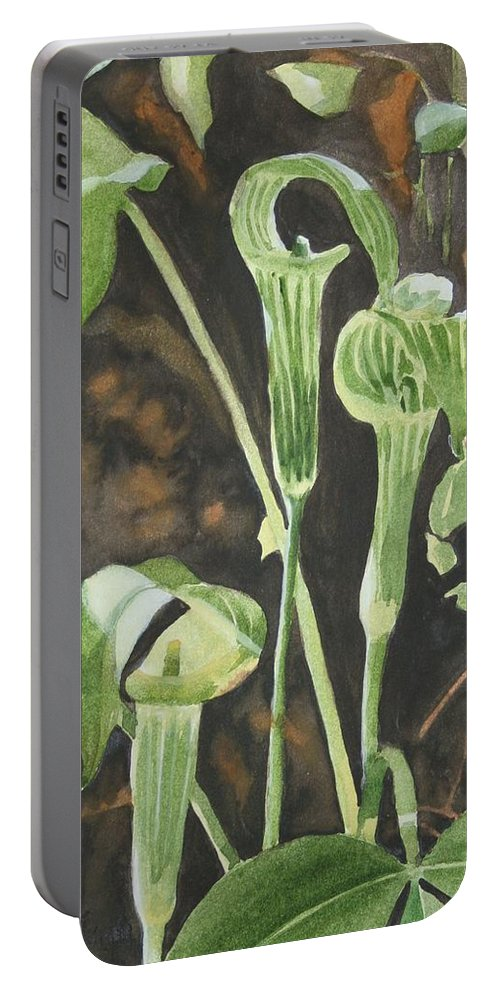 Woods Portable Battery Charger featuring the painting Sermon In The Woods by Jean Blackmer
