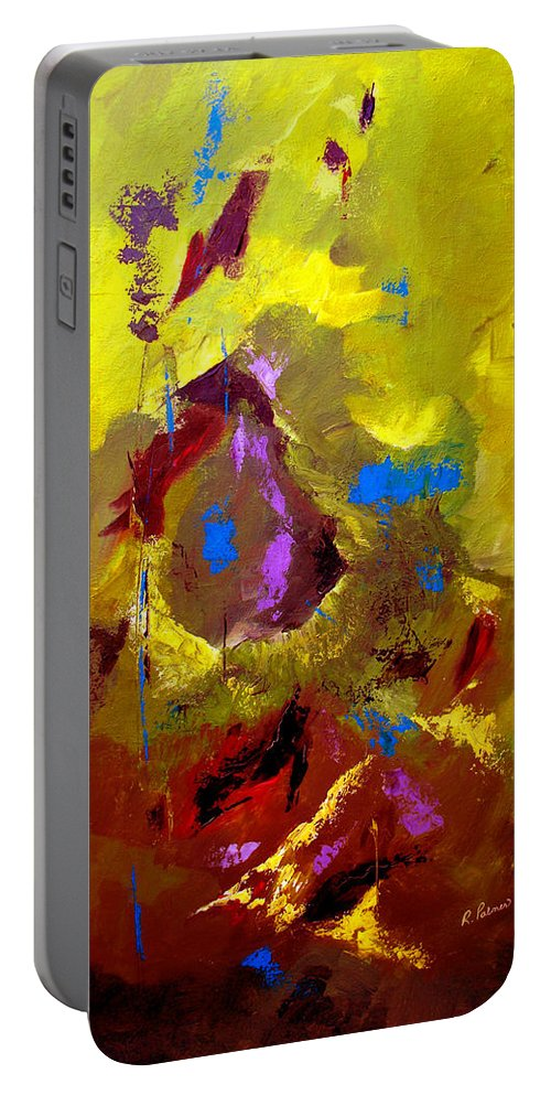 Abstract Portable Battery Charger featuring the painting Set Free by Ruth Palmer
