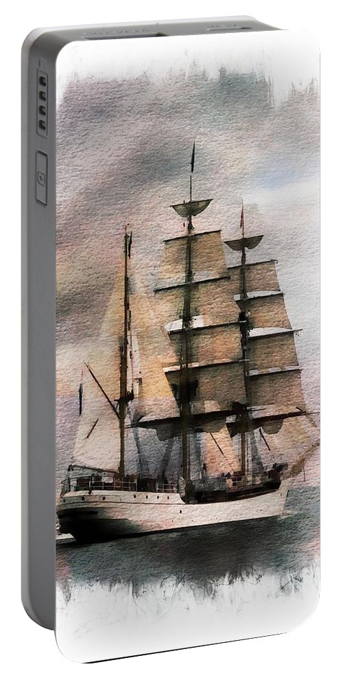 Sail Portable Battery Charger featuring the painting Set Sail by Aaron Berg