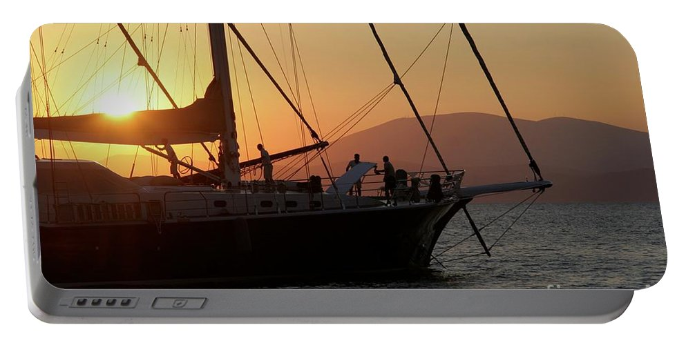 Sunset Portable Battery Charger featuring the photograph Set Sail On The Aegean At Sunset by Clay Cofer