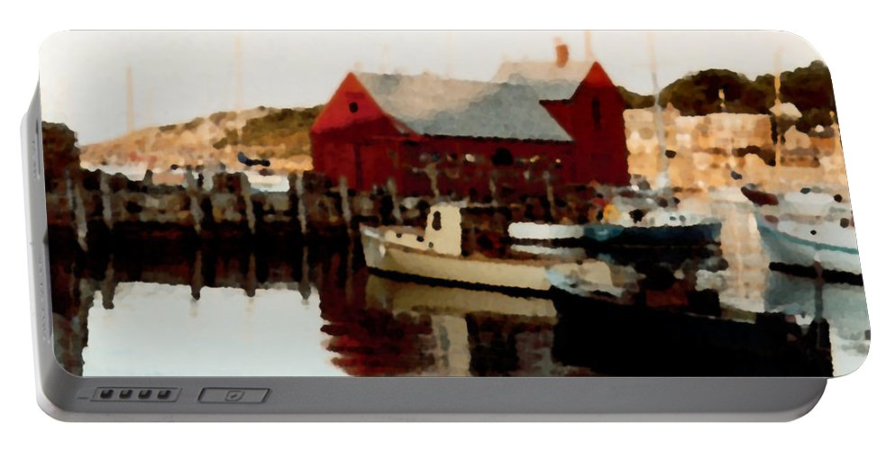 Rockport Portable Battery Charger featuring the painting Setting Sun by Paul Sachtleben