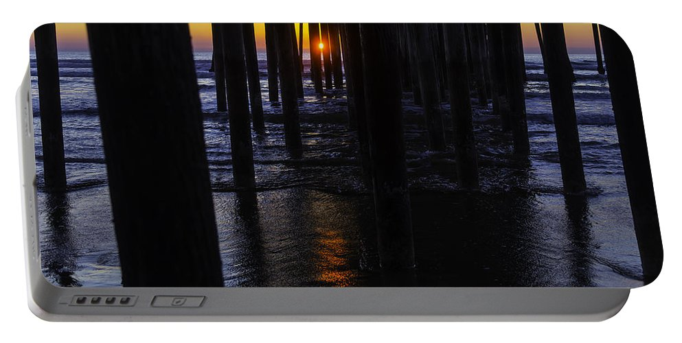 Pismo Beach Portable Battery Charger featuring the photograph Setting Sun Pismo Beach by Garry Gay
