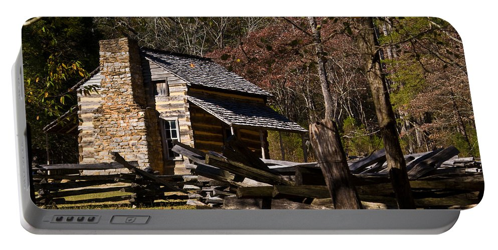 Settlers Portable Battery Charger featuring the photograph Settlers Cabin Cades Cove by Douglas Barnett