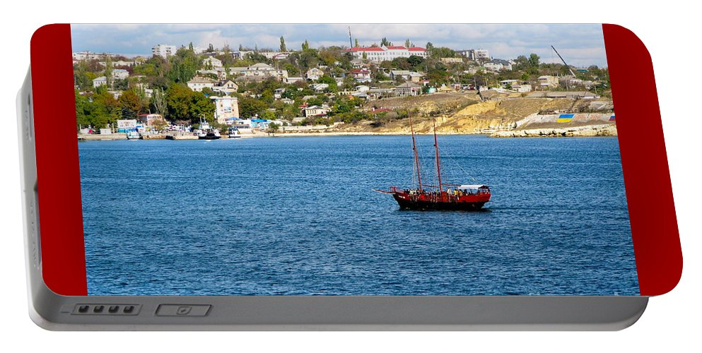 2 Masted Boat Portable Battery Charger featuring the photograph Sevastapol. Ukraine by Phyllis Kaltenbach