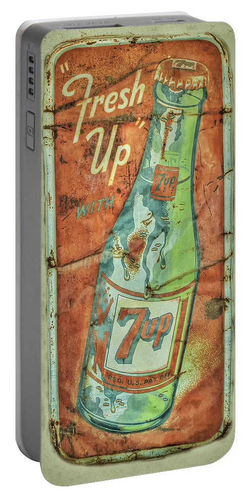Sign Portable Battery Charger featuring the photograph Seven Up Fresh Up by Douglas Settle
