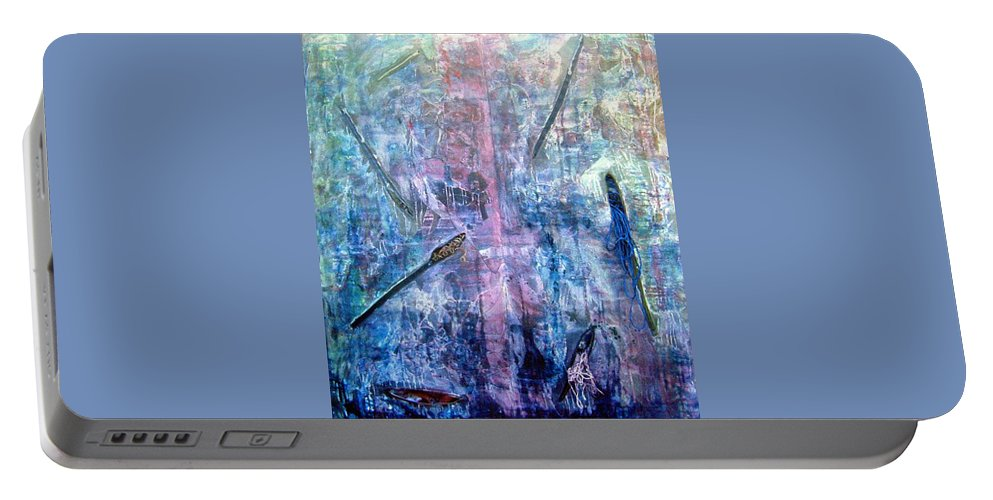 Abstract Portable Battery Charger featuring the painting Seven Zippers by Nancy Mueller
