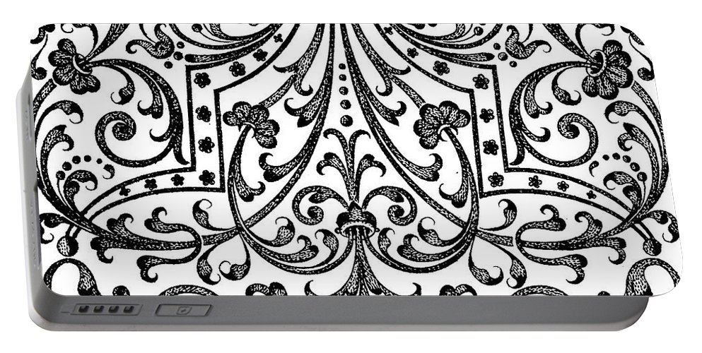 Vintage Portable Battery Charger featuring the drawing Seventeenth Century Parterre Pattern Design by Jacques Mollet
