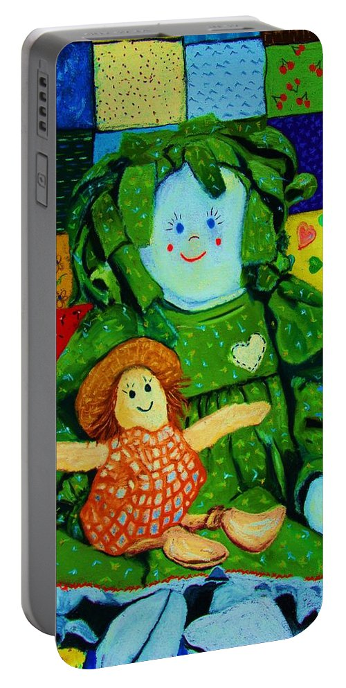 Dolls Portable Battery Charger featuring the print Sew Sweet by Melinda Etzold