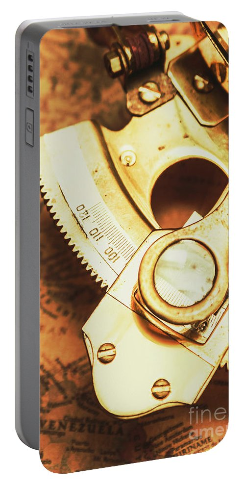 Navigation Portable Battery Charger featuring the photograph Sextant Sailing Navigation Tool by Jorgo Photography - Wall Art Gallery