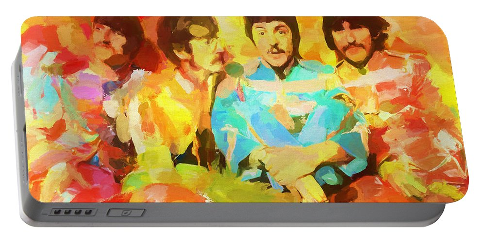 Sgt. Peppers Lonely Hearts Portable Battery Charger featuring the painting Sgt. Peppers Lonely Hearts by Dan Sproul