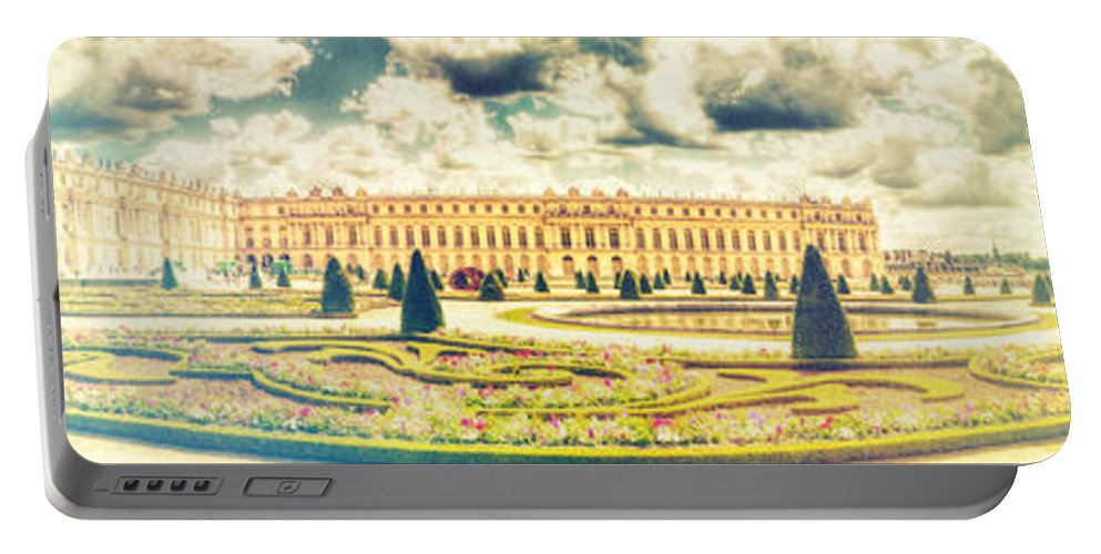 Architecture Portable Battery Charger featuring the photograph Shabby Chic Hdr Panorama Versailles Paris by Sandra Rugina