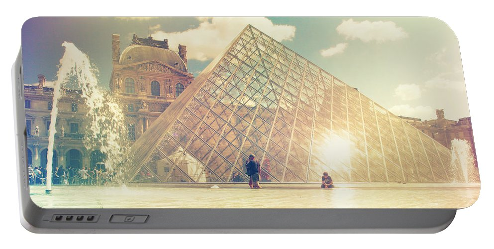 Architecture Portable Battery Charger featuring the photograph Shabby Chic Louvre Museum Paris by Sandra Rugina