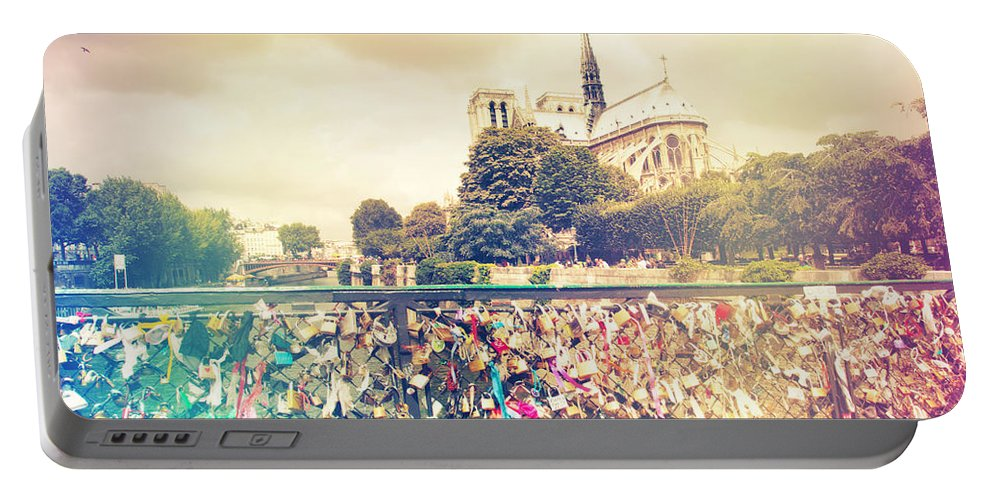 Architecture Portable Battery Charger featuring the photograph Shabby Chic Love Locks Near Notre Dame Paris by Sandra Rugina