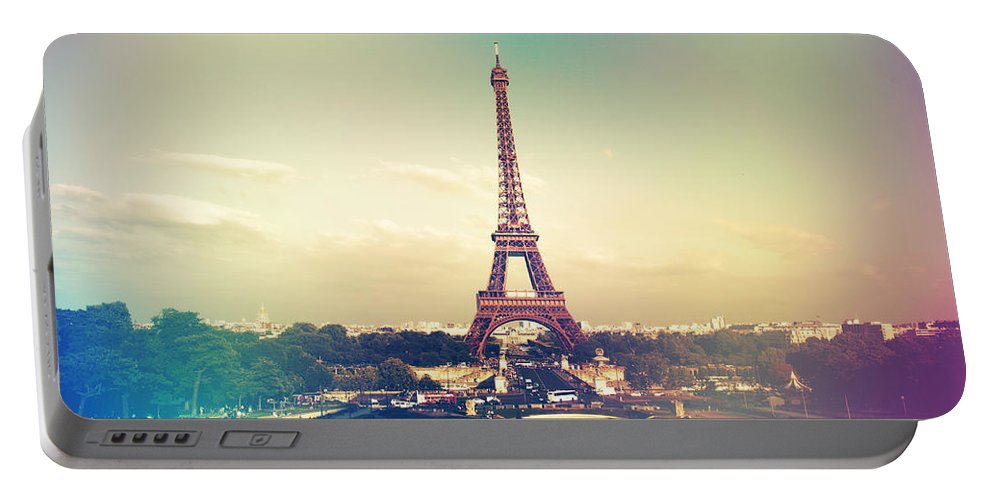 Architecture Portable Battery Charger featuring the photograph Shabby Chic Vintage Style Eiffel Tower Paris by Sandra Rugina