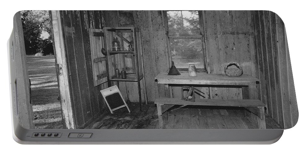 Black And White Portable Battery Charger featuring the photograph Shack House by Michelle Powell