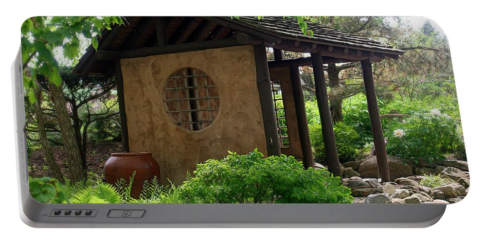 Japanese Garden Portable Battery Charger featuring the photograph Shaded Oasis by Terry Matzke