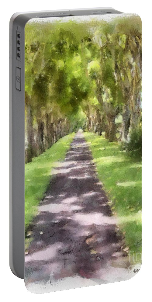 Kauai Portable Battery Charger featuring the painting Shaded Walkway To Princeville Market by Paulette B Wright