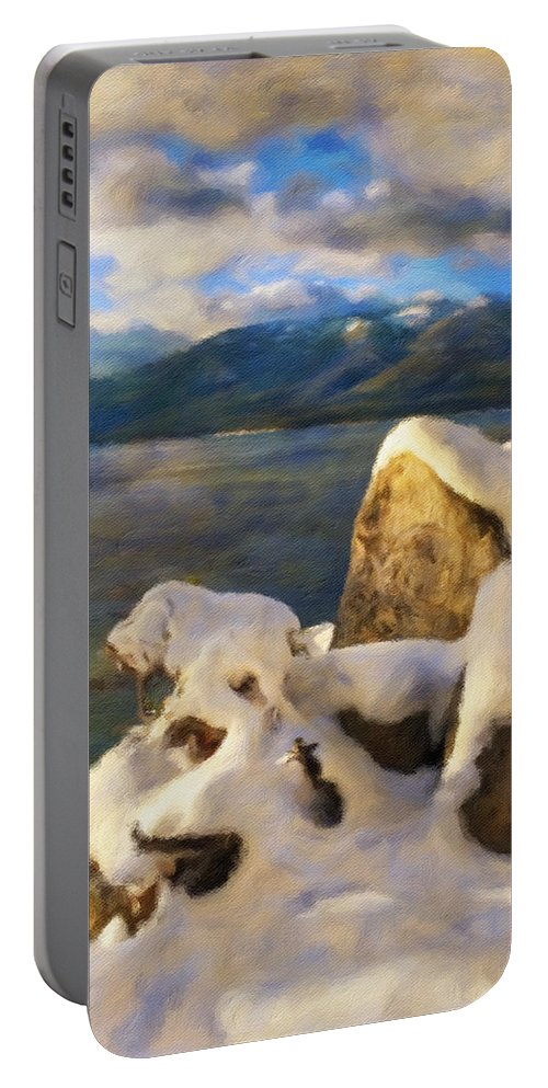 Landscape Portable Battery Charger featuring the photograph Shadow And Snow by Jonathan Nguyen