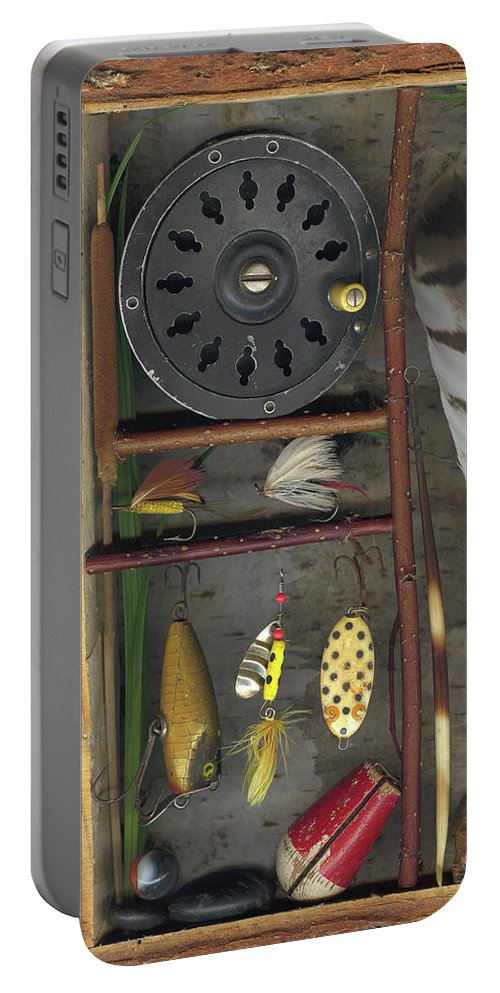 Shadow Box Portable Battery Charger featuring the mixed media Shadow Box A by Sandi F Hutchins