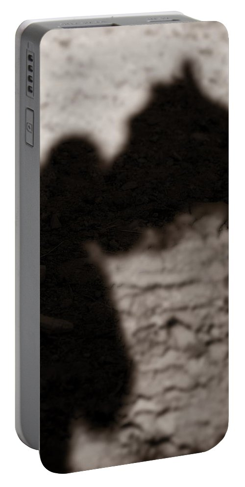 Shadow Portable Battery Charger featuring the photograph Shadow Of Horse And Girl - Vertical by Angela Rath