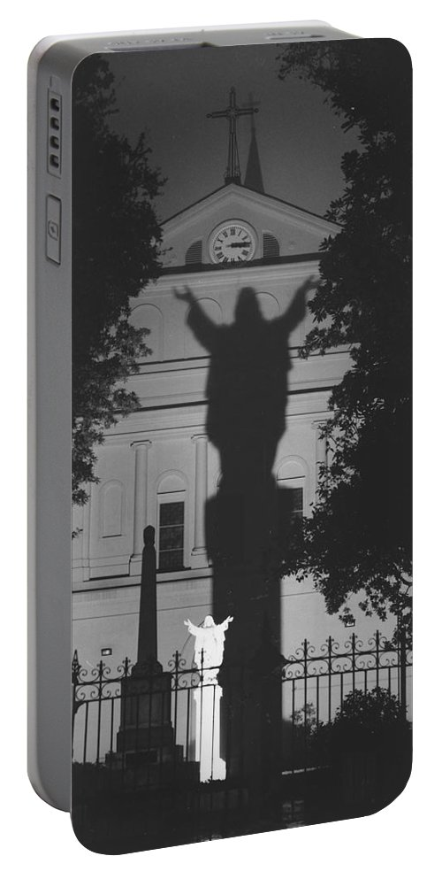 Structure Portable Battery Charger featuring the photograph Shadow Of Jesus by Michelle Powell