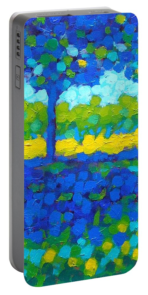 Irish Landscape Portable Battery Charger featuring the painting Shadow Trees by John Nolan