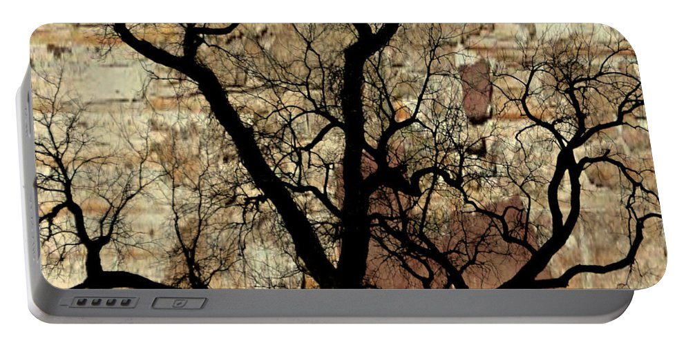 Tree Portable Battery Charger featuring the photograph Shadow Wall by Marty Koch