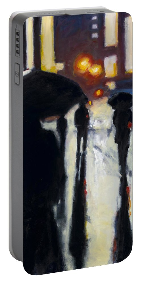 Rob Reeves Portable Battery Charger featuring the painting Shadows In The Rain by Robert Reeves