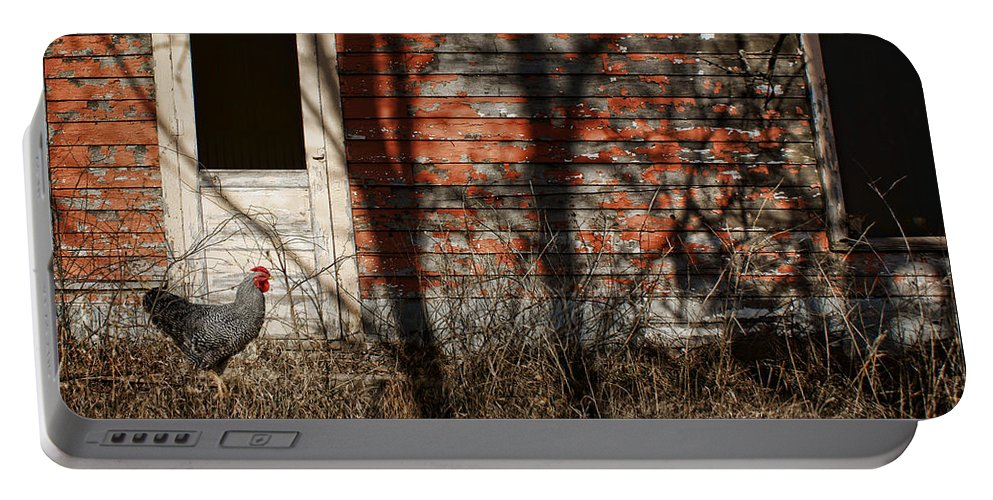 Shadows Portable Battery Charger featuring the photograph Shadows - Old Farmhouse - Hen by Nikolyn McDonald