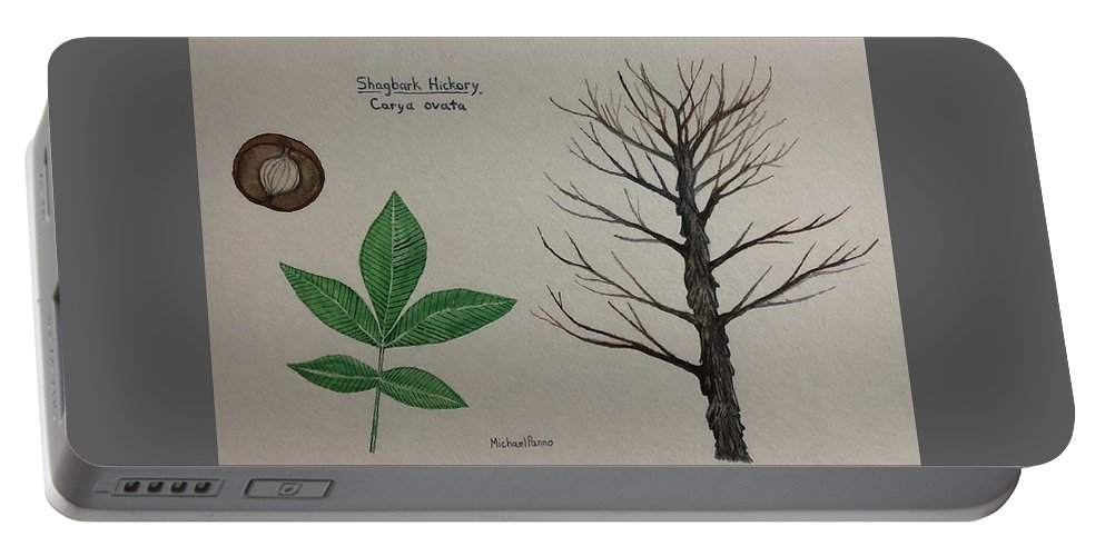 Nature Portable Battery Charger featuring the painting Shagbark Hickory Tree Id by Michael Panno