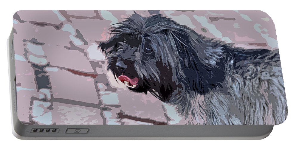 Linda Brody Portable Battery Charger featuring the photograph Shaggy Pup Abstract by Linda Brody