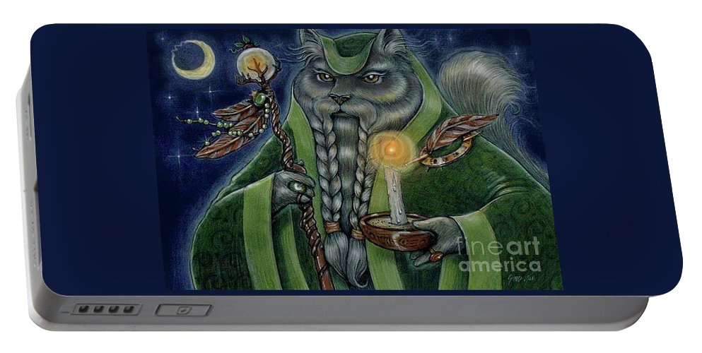 Cats Portable Battery Charger featuring the painting Shaman's Moon by Sin D Piantek