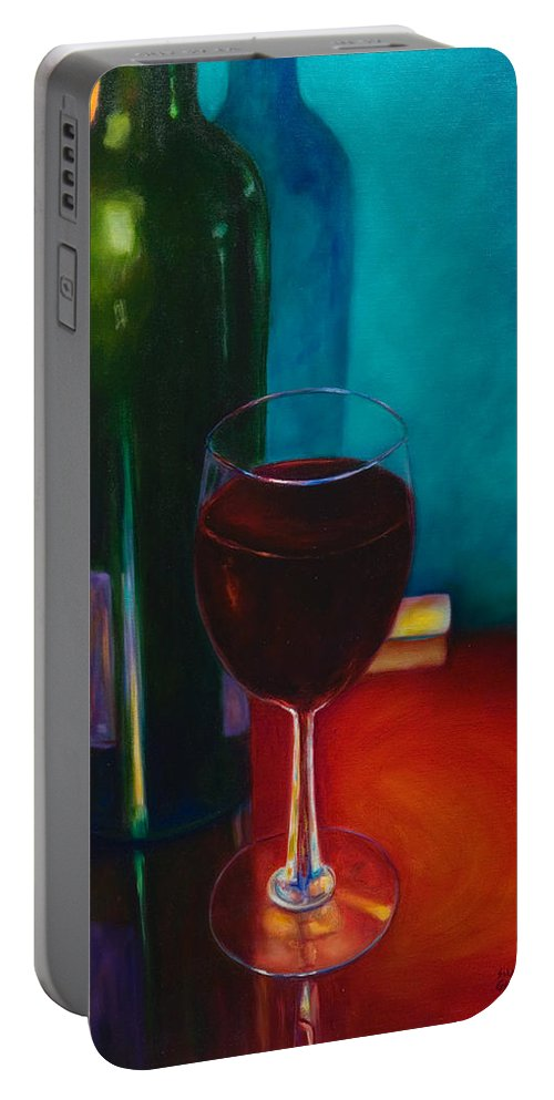 Wine Bottle Portable Battery Charger featuring the painting Shannon's Red by Shannon Grissom