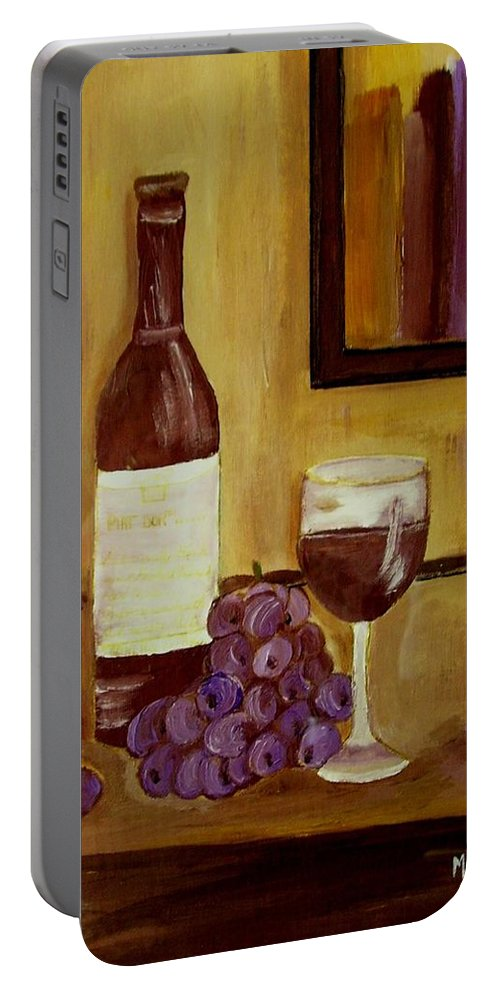 Still Life Portable Battery Charger featuring the painting Sharing A Glass by Mary ann Barker