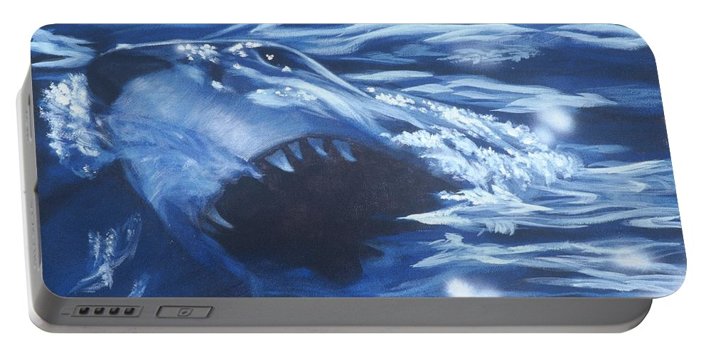 Shark Portable Battery Charger featuring the painting Shark by Bryan Bustard