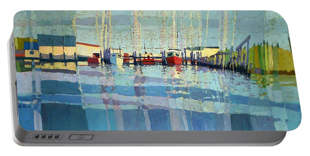 Belmar Inlet Portable Battery Charger featuring the painting Shark River Inlet by Donald Maier