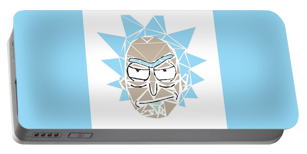 Rick And Morty Portable Battery Charger featuring the digital art Shattered Reflection Series by Mcat Blue