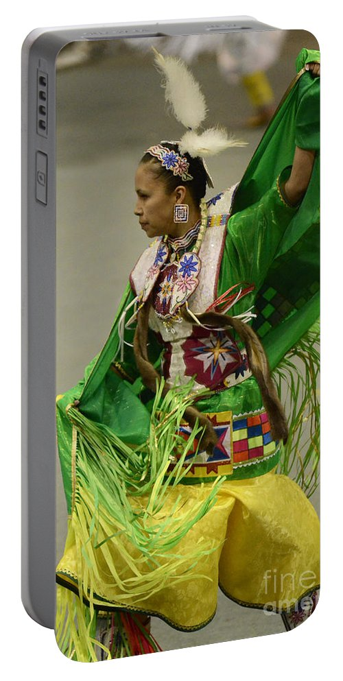 Pow Wow Portable Battery Charger featuring the photograph Pow Wow Shawl Dancer 3 by Bob Christopher