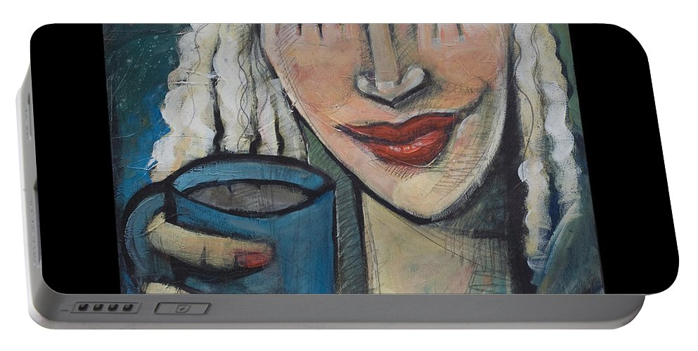 Coffee Portable Battery Charger featuring the painting She Had Some Dreams... Poster by Tim Nyberg
