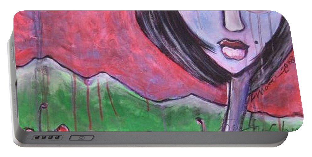 Poppies Portable Battery Charger featuring the painting She Loved The Poppies by Laurie Maves ART