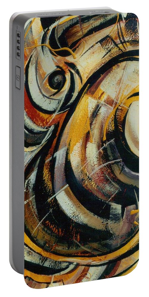 Movement Portable Battery Charger featuring the painting She Moves Me Vol.3 by Hasaan Kirkland