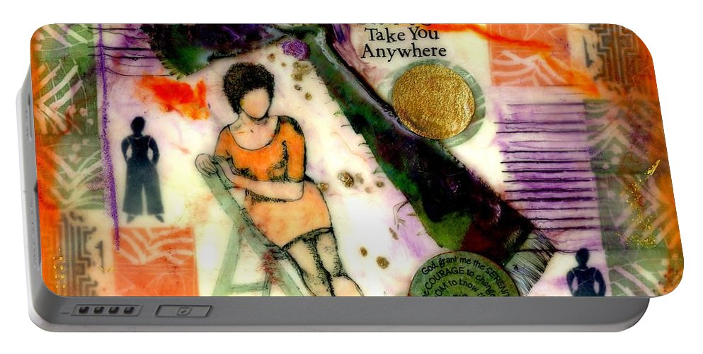 Wood Portable Battery Charger featuring the mixed media She Remained True by Angela L Walker