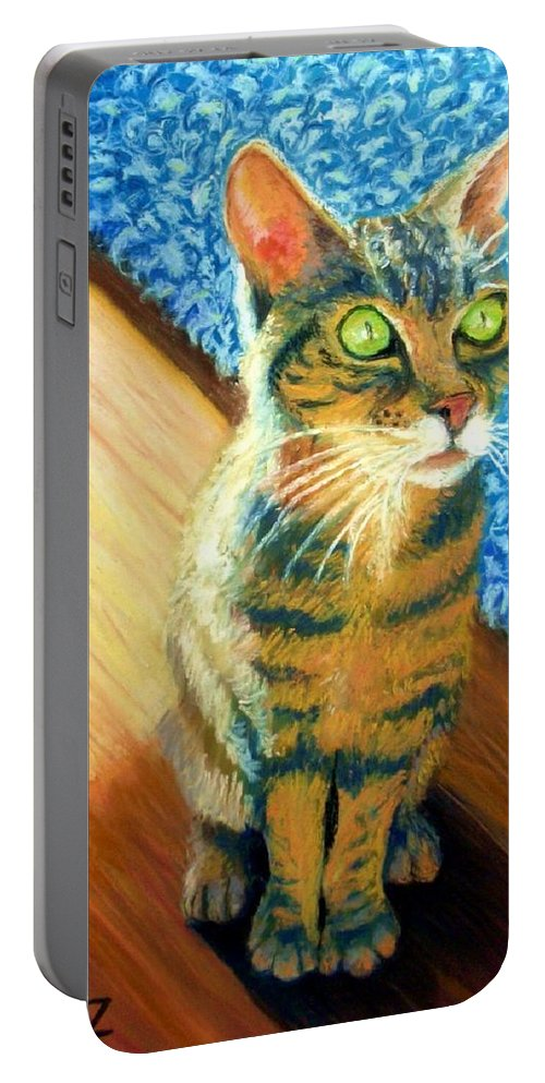 Cat Portable Battery Charger featuring the painting She Wants To Be Famous by Minaz Jantz