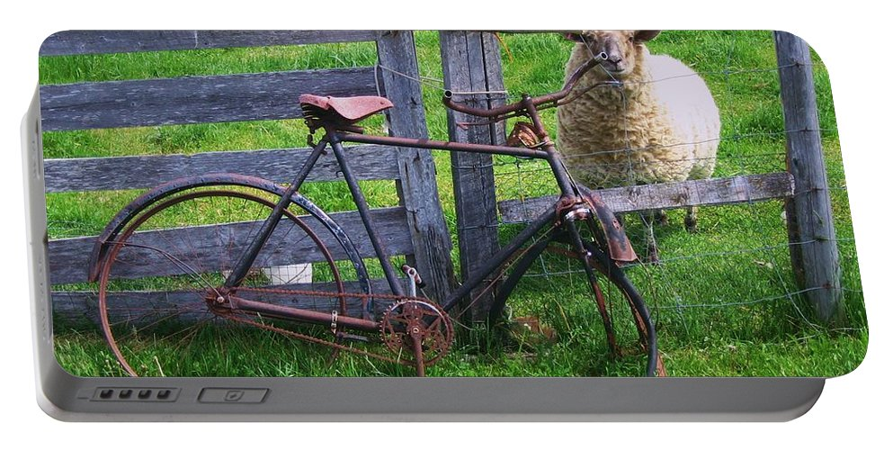 Photograph Sheep Bicycle Fence Grass Portable Battery Charger featuring the photograph Sheep And Bicycle by Seon-Jeong Kim