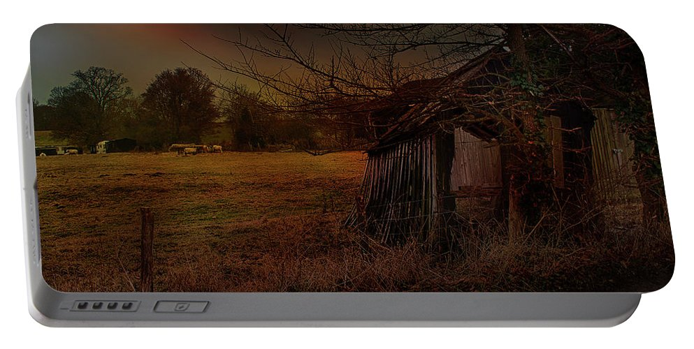 Sheep And Shed Portable Battery Charger featuring the photograph Sheep And Shed by Dave Godden