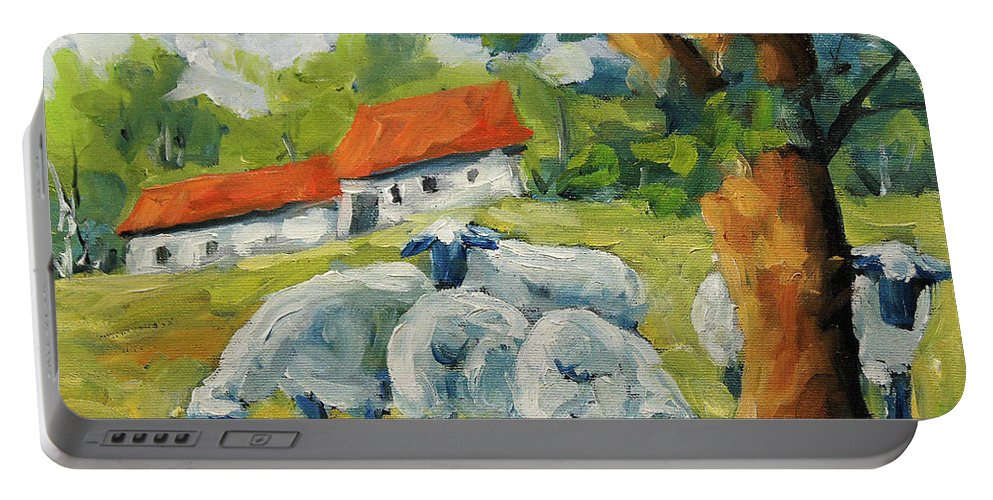 Sheep Portable Battery Charger featuring the painting Sheep On The Farm by Richard T Pranke