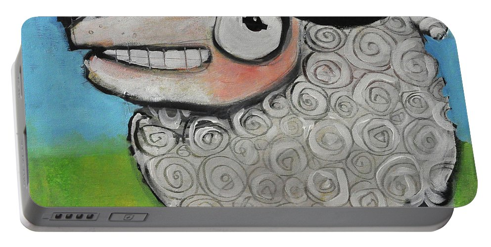 Sheep Portable Battery Charger featuring the painting Sheep by Tim Nyberg